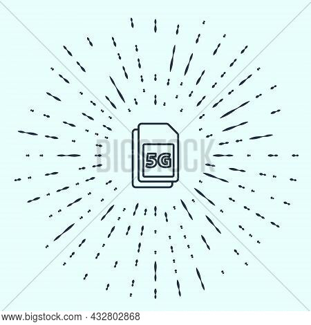 Black Line 5g Sim Card Icon Isolated On Grey Background. Mobile And Wireless Communication Technolog