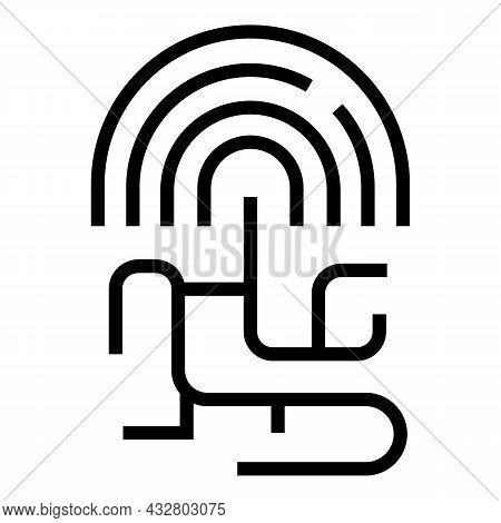 Digital Signature Icon Outline Vector. Id Recognition. Biometric Identification