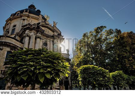 Lviv, Ukraine - 10 September, 2021: The Dominican Church In Lviv Is Located In The City's Old Town,