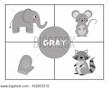 Basic Colors For Children. Flashcards For Learning Colors. Gray Color.