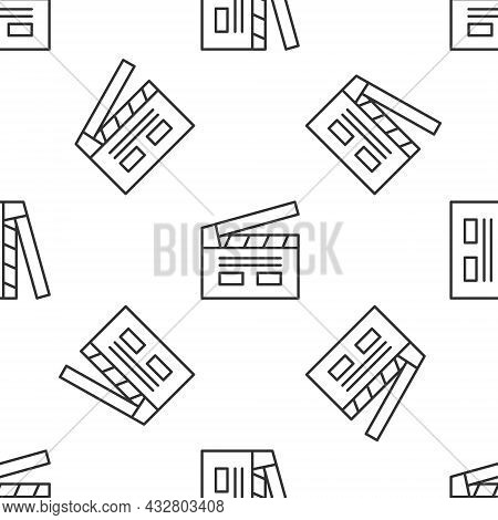 Grey Line Bollywood Indian Cinema Icon Isolated Seamless Pattern On White Background. Movie Clapper.