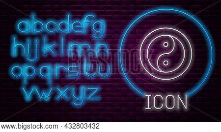 Glowing Neon Line Yin Yang Symbol Of Harmony And Balance Icon Isolated On Brick Wall Background. Neo