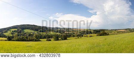 Panorama Of Summer Landscape Near Jimramov City, Czech Republic, Europe