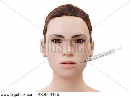 Botulinum Toxin Injection In Lips Of Young Cartoon Woman Isolated On White Background. 3d Rendering