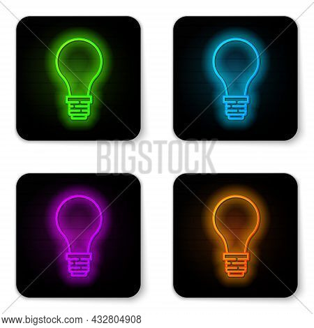 Glowing Neon Line Light Bulb With Concept Of Idea Icon Isolated On White Background. Energy And Idea