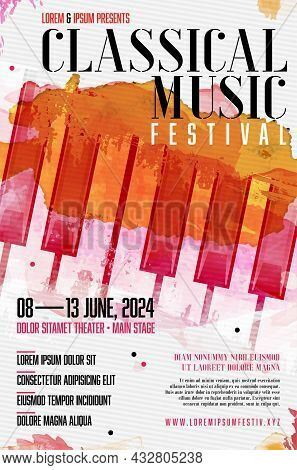 Classical Music Festival Poster Template With Grungy Background And Piano Keyboard - Vector Illustra