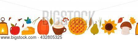Seamless Autumn Background Of Autumn Icons - Pumpkin, Pumpkin Pie, Berries, Mushrooms, Sunflower, A