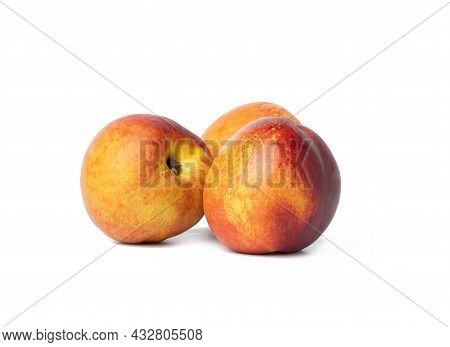 Ripe Round Red Nectarine Isolated On White Background, Tasty And Healthy Fruit, Close Up