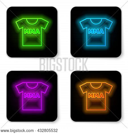 Glowing Neon Line T-shirt With Fight Club Mma Icon Isolated On White Background. Mixed Martial Arts.