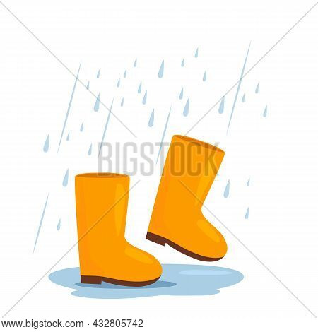 Yellow Rubber Boots Are Walking In A Puddle In The Rain. Autumn Weather Concept. Vector Illustration