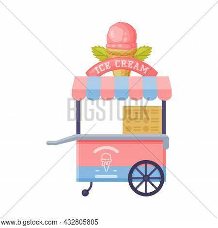 Cart As Outdoor Food Court Or Food Vendor Selling Ice Cream Vector Illustration