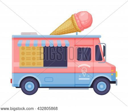 Van As Outdoor Food Court Or Food Vendor Selling Ice Cream Vector Illustration