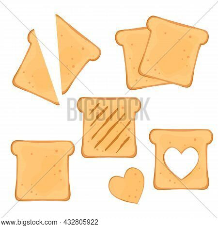 Set Of Sliced Toast Bread. Fresh Slices Of Bread For Breakfast. Vector Illustration Isolated On Whit
