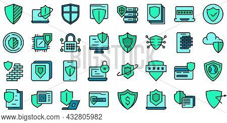 Active Protection Icons Set Outline Vector. File Firewall. Coding Guard