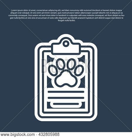 Blue Line Clipboard With Medical Clinical Record Pet Icon Isolated On Blue Background. Health Insura