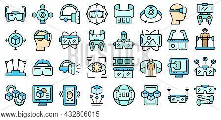 Vr Platform Icons Set. Outline Set Of Vr Platform Vector Icons Thin Line Color Flat Isolated On Whit