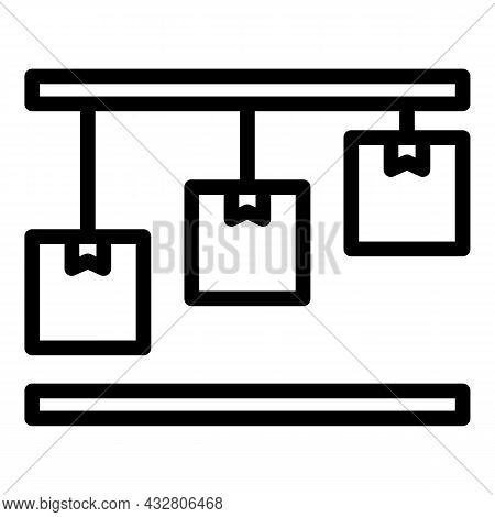 Mass Production Process Icon Outline Vector. Factory Assembly. Industry Conveyor