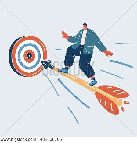 Vector Illustration Of Man Fly On Arrow Flies In The Direction Of Aim