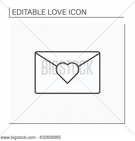 Romantic Letter Line Icon. Love Letter For Beloved Person. Love Declaration. Love Concept. Isolated