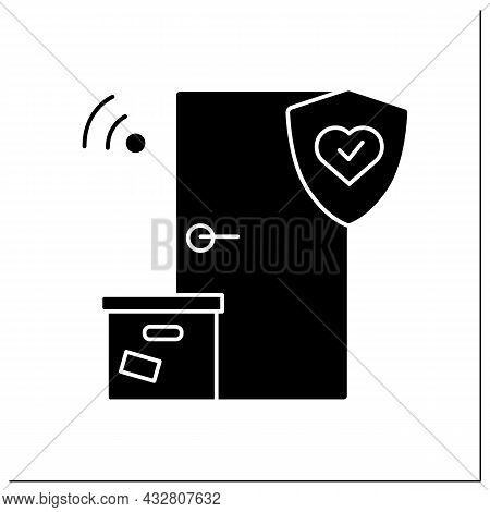 Safe Delivery Glyph Icon.contact Less Door-to-door Order Delivery With Corona Virus Stop. Online Sho