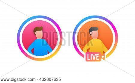 Cartoon Image. People Avatar Profile Stories. Flat Vector. Social Media. Photo Frame.