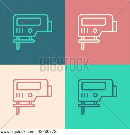 Pop Art Line Electric Jigsaw With Steel Sharp Blade Icon Isolated On Color Background. Power Tool Fo