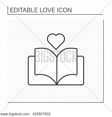 Love Story Line Icon. Romantic Book With Dramatic Plot. Book With Happy End. Romantic Stories. Love