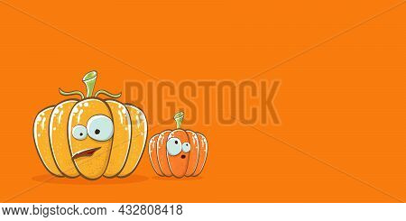 Funky Halloween Or Thanksgiving Day Horizontal Banner With Vector Funny Cartoon Cute Smiling Friends