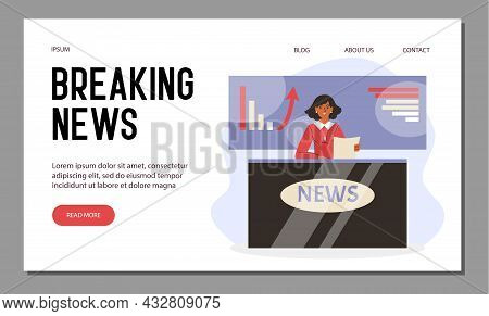 Female Cartoon Character Tv Announcer Reads Breaking News Live On Television