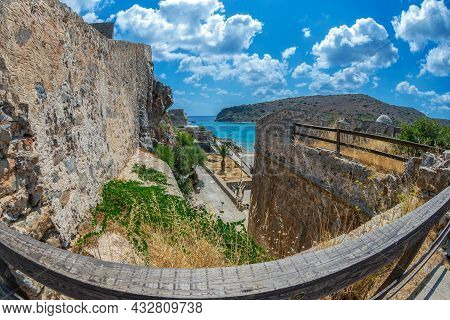 View Of Mirabello Bay From Spinalonga Fortress.the Island Is In The Gulf Of Elounda, Crete, Greece,