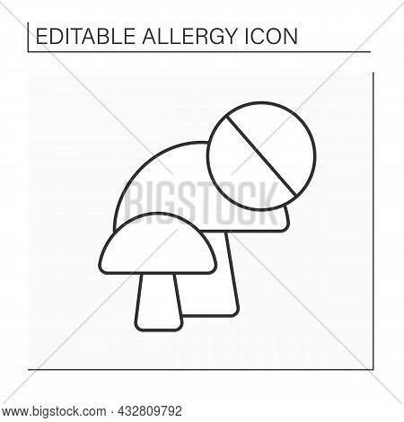 Allergy To Food Line Icon. Mushroom Allergy After Eating Food Or Drink. Inhalation Of Mushroom Spore