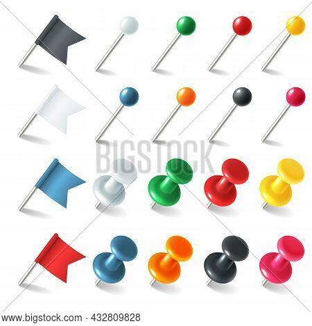 Pins Tacks Flags. Pointer Colored Marker Pin Flag, 3d Thumbtacks Tacks For Attaching Notes, Plastic