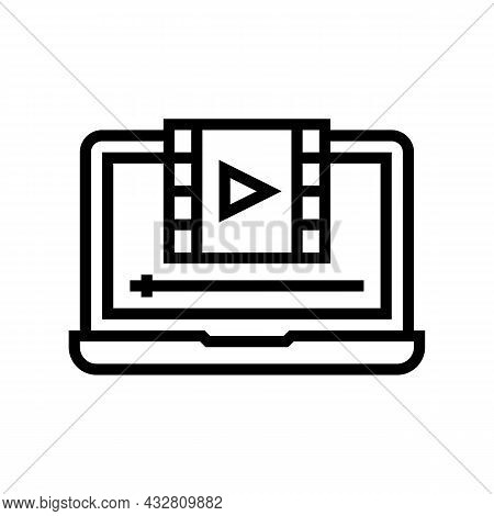 Film Watching On Laptop Line Icon Vector. Film Watching On Laptop Sign. Isolated Contour Symbol Blac