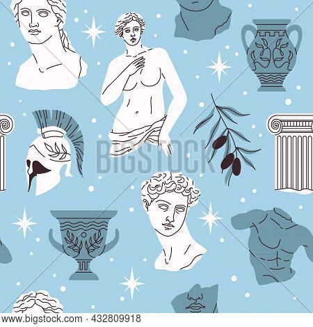 Seamless Pattern Antique Statues. Ancient Greek Sculpture Elements, Hipster Trendy Style Background,