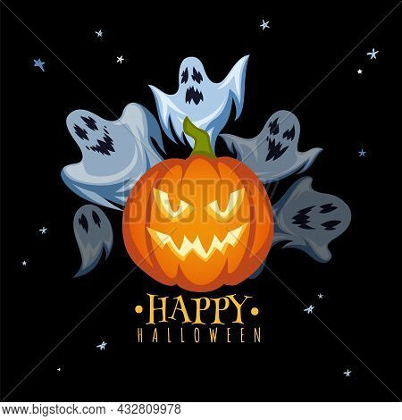 Halloween Holiday Poster. Scary Pumpkin With Horror Face, Flying Creepy Ghosts, Trick-or-treat Banne
