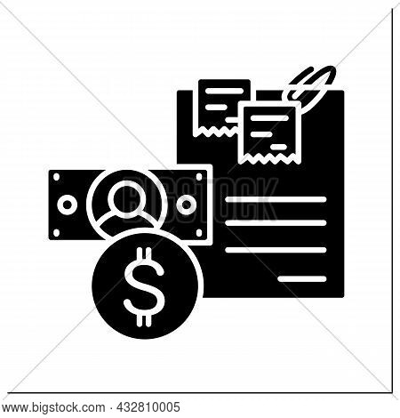 Budget Glyph Icon. Finance Plan Document With Dollar Coin And Banknote. Concept Of Money Planing And
