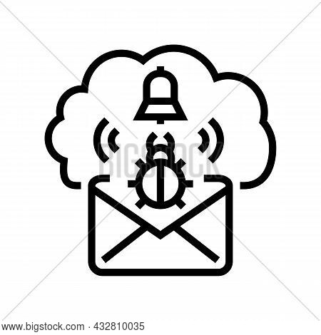 Threat Cyber Security Line Icon Vector. Threat Cyber Security Sign. Isolated Contour Symbol Black Il