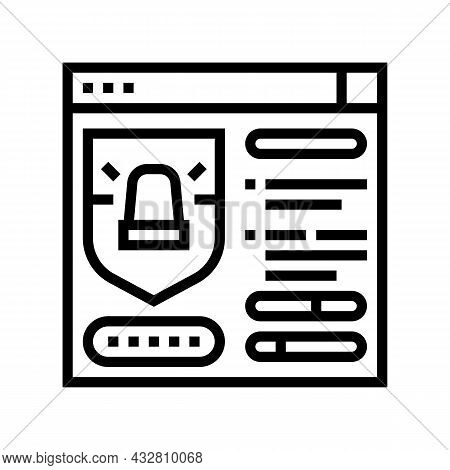 Protection System Line Icon Vector. Protection System Sign. Isolated Contour Symbol Black Illustrati