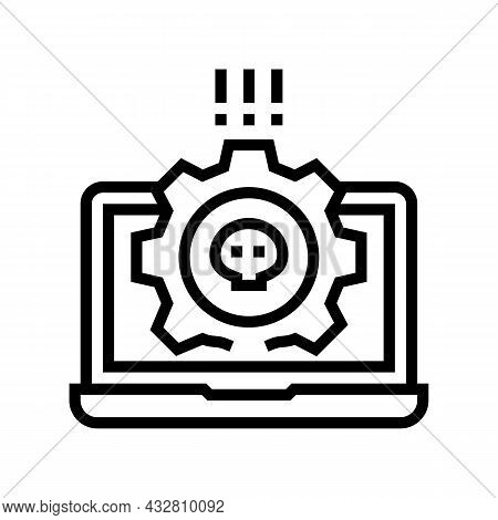 Antivirus Software Line Icon Vector. Antivirus Software Sign. Isolated Contour Symbol Black Illustra