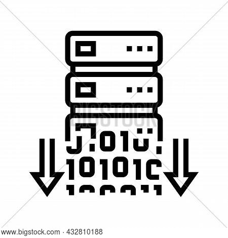 Data Security Line Icon Vector. Data Security Sign. Isolated Contour Symbol Black Illustration