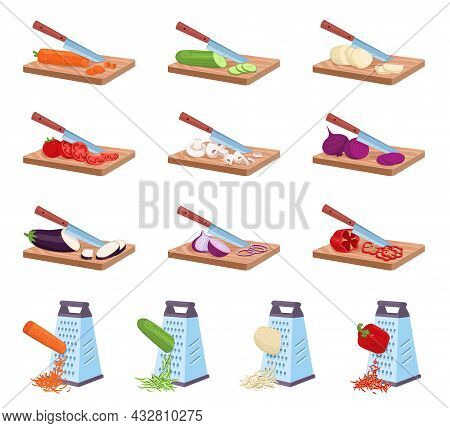 Vegetables Cutting Board. Knife Slicing Products Process. Chopped And Grated Cooking Ingredients. Ki