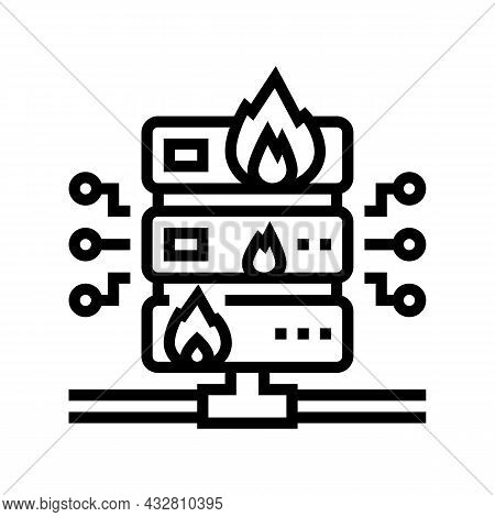 Server Fire Security System Line Icon Vector. Server Fire Security System Sign. Isolated Contour Sym