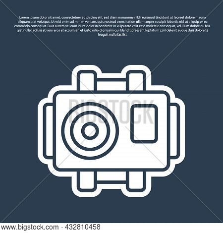 Blue Line Photo Camera For Diver Icon Isolated On Blue Background. Foto Camera Icon. Diving Underwat