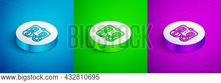 Isometric Line Soccer Football Betting Money Icon Isolated On Blue, Green And Purple Background. Foo