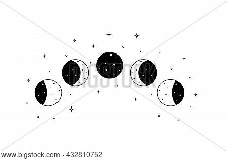 Set Of Moon Phases. Crescent, New, Surface And Eclipse. Astronomy Cycle Of Satellite On The White Ba