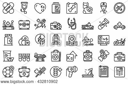 Sports Doctor Icons Set Outline Vector. Injury Therapy. Physical Doctor