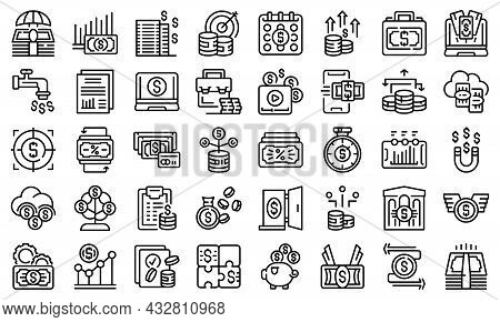 Passive Income Icons Set Outline Vector. Money Fund. Cost Invest