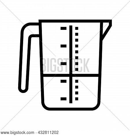 Laundry Measuring Cup Line Icon Vector. Laundry Measuring Cup Sign. Isolated Contour Symbol Black Il