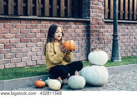 Funny Child Girl In Orange Pullover For Halloween With Pumpkin And On A Dark Brick Background. Happy