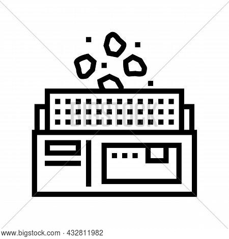 Manufacturing Plant Line Icon Vector. Manufacturing Plant Sign. Isolated Contour Symbol Black Illust